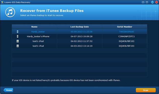 Select an iTunes backup to scan