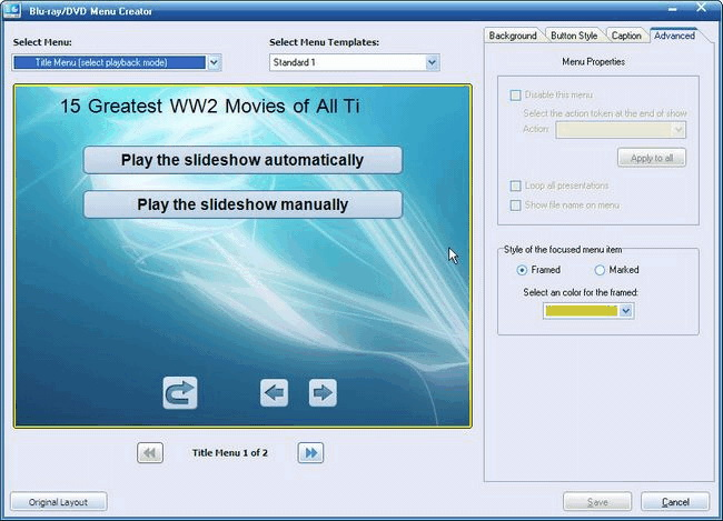 Use DVD/Blu-ray Menu Creator