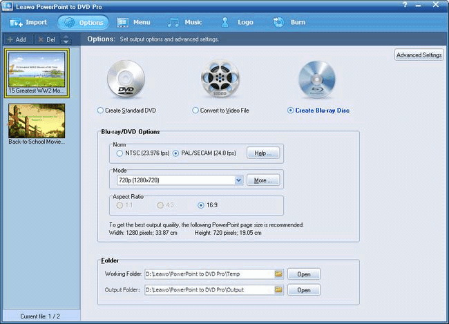 Burn PowerPoint to DVD/Blu-ray Disc
