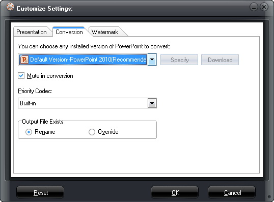 Select default PowerPoint version and Priority Codec